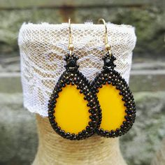 Earrings from beads, Earrings, Cabochon, Original jewelry, Earrings-drops