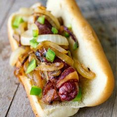 Jalepeno Onion Bacon Wrapped Hot Dogs