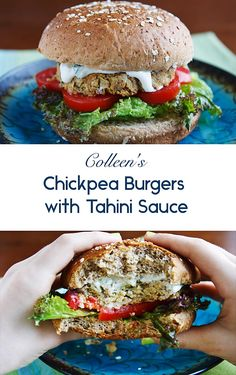 Inspired by falafel, these chickpea burgers are much healthier since they forgo the deep-frying typical of this Middle Eastern staple. Vegan Lunch Recipes, Vegan Breakfast Recipes, Veggie Recipes, Whole Food Recipes, Cooking Recipes, Veggie Meals, Vegan Foods, Chickpea Burger, Vegan Burgers