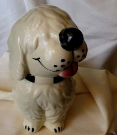 Vintage McCoy Dan The Dog  Ceramic Pottery Cookie Treat JAR/ DOG Pottery Cookie Treat JAR
