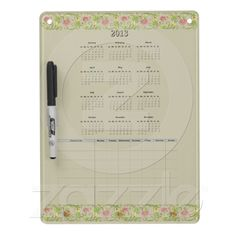 2013 Calendar plus Chore Chart  This large dry erase board will keep you organized and on track for 2013! Beautiful swirling floral border across the top and bottom in shades of green, gold and pink. Simple to read calendar plus a week long chore list for yourself or your child. Makes a great gift to yourself or someone else.