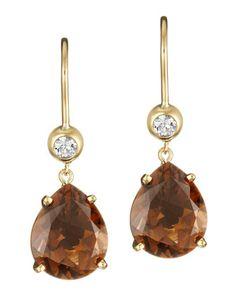 [Jane Taylor Cognac Quartz and Diamond Drop Earrings in 18K Yellow Gold- Neiman Marcus Last Call @Last Call]