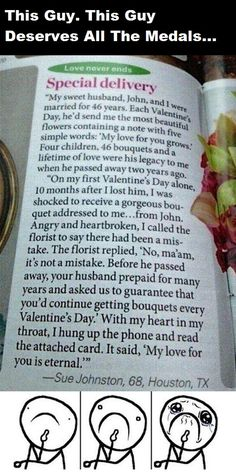 wordgotaround: michaelsewey: True love! This guy's got it! This story made my heart melt. There wasn't much left so it only took a few seconds. every fucking time-