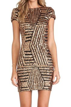 Gold Geometric Sequin Short Sleeve Open Back Dress