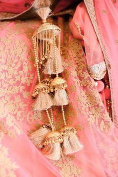 Wedding Kaleere - Light Gold Kaleere | WedMeGood  Light Gold Kaleere with A Pastel Pink Lehenga. Find Many More Designs on wedmegood.com #wedmegood #kaleere