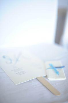Handcrafted wedding program & happy tears tissue