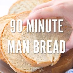 This man bread recipe is so easy, even a man can make it. It was after all, developed by one! Create an awesome, man-sized loaf, or a dozen rolls of homemade bread in just a quick 90 minutes. Easy and healthy recipes for novice or men cooks alike! Bread Recipe Video, Best Homemade Bread Recipe, Healthy Bread Recipes, Loaf Recipes, Allergy Free Recipes, Real Food Recipes, Cooking Recipes, Dinner Recipes, Cooking Contest