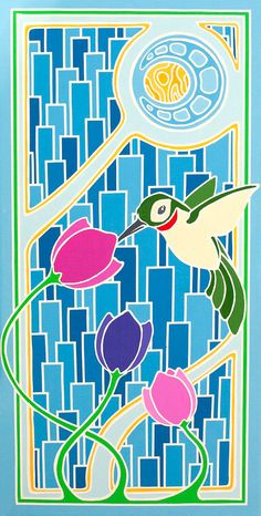 "Hummingbird "" Fine Art Painting Print of 100 -- Art Nouveau & Art Deco - Stained Glass Style - Abstract Pattern by ArtworksofRobCropper, $25.00"