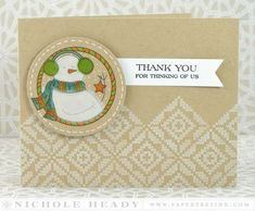 Snowman Thank You Card by Nichole Heady for Papertrey Ink (November 2014)