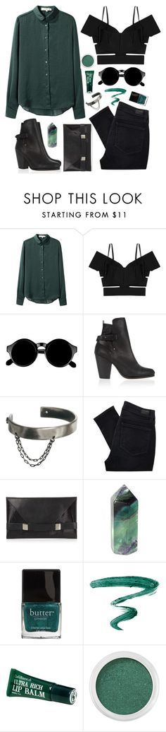 """Green and Black"" by jess ❤ liked on Polyvore featuring Vanessa Bruno, Roland Mouret, Retrò, rag & bone, Maria Francesca Pepe, Paige Denim, Unique, Butter London, Yves Saint Laurent and Clark's Botanicals"