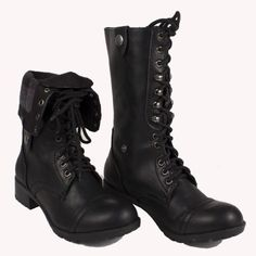 Arrow Lake Black Tribal Fold Over Combat Boots | Amazing Lace | My ...