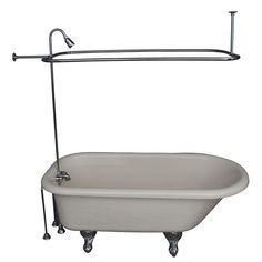 2833e0d67e7 Barclay Products 5 ft. Acrylic Ball and Claw Feet Roll Top Tub in Bisque  with. The Home Depot