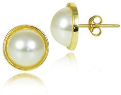 Lord & Taylor Faux Pearl and Goldtone Button Stud Earrings