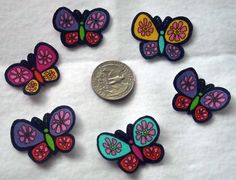 6 Colorful Butterflies No Sew Iron On Appliques Cotton by TDFT