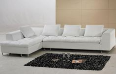 Furniture L Shape White Leather Sofa Design Ideas And Black Shag Rug Determining the Stunning Sofa for Sale With the Original Leather Material