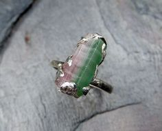 Raw Rough Uncut Bi Color Tourmaline Ring Mint Green Blue green Pink Gemstone Crystal Sterling Silver recycled