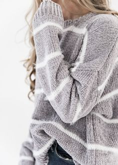 Light Grey Striped Crushed Sweater, JessaKae, New Arrival, Light Grey, Striped, Soft, Cozy, Comfortable, Details, Sweater, Womens Fashion, Blonde, Womens Style, Beauty, Comfy, Shop