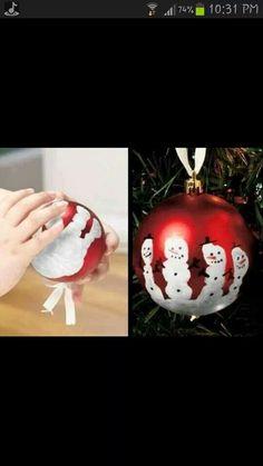 Hand print snow man ornament