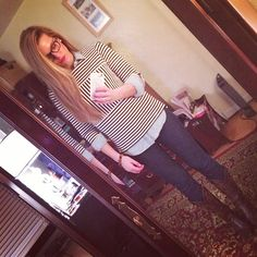 Striped top + chambray shirt + dark skinny jeans + cowboy boots