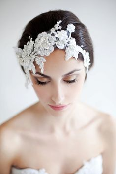 #Bridal #makeup Maria Aparicio bridal head piece, A nice alternative to a veil or tiara!