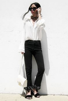 spring outfit, summer outfit, black and white outfit, simple outfit, easy outfit, casual outfit, night out outfit, street style, street chic style - white shirt, black fringe hem jeans, black fringe heeled sandals, white shoulder bag, black sunglasses
