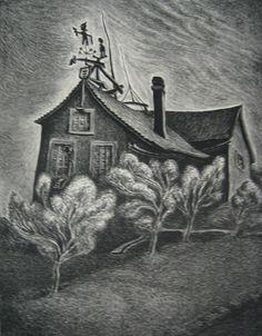 Paramour Fine Arts - List of Works for Wanda Gag Winter House, Children's Book Illustration, Belle Epoque, American Artists, Children's Books, Illustrators, Book Art, Art Drawings, Stamps