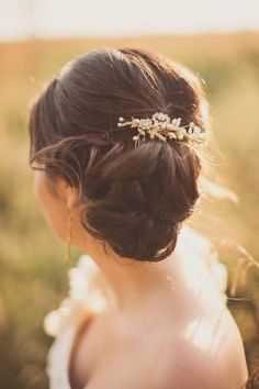 Elegant Wedding Updo but with a more simple hairpiece
