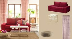 KIVIK two-seat sofa with Dansbo medium red cover and IKEA PS 2012 side tables
