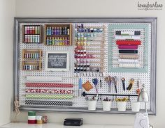 Extra Large Pegboard Craft Room Organization – I Love This Pegboard Idea How she Put the Frame around the board as well! She doesn't have a designated craft room but an extra large LR so she devoted a corner of her LR for her craft area – Great idea wh