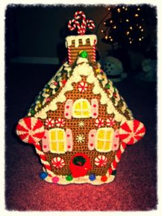 Handmade Crochet Christmas Holiday Gingerbread House on ebay.  Love it.