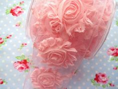 Pink Shabby Chic Frayed Flower Trim-shabby chic, trim, ribbon, rosette, flowers, wired, sheer, frayed, sewing, wedding, pink, delicate, rag, scrapbooking
