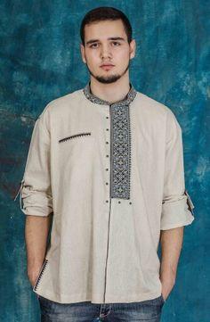 African Clothing For Men, African Shirts, African Wear, Banded Collar Shirts, Kurta Men, Ukrainian Dress, Mens Kurta Designs, Men Design, Shirt Style