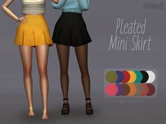 sims 4 cc // custom content clothing // the sims resource // //Trillyke - Pleated Mini Skirt The Sims 2, Sims Four, Sims 4 Mm Cc, Sims 4 Cas, Maxis, Pleated Mini Skirt, Mini Skirts, Skater Skirt, Vêtement Harris Tweed
