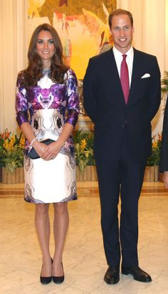 Pin for Later: 42 Times Prince William Rocked Our World by Matching Kate Middleton They Glowed in Shades of Magenta Kate wearing Prabal Gurung.