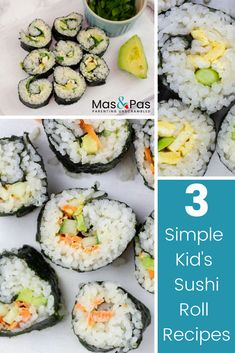 Kids sushi is a tasty meal, as well as being great fun for little ones to help make. We've made three healthy varieties that are all vegetarian sushi recipes, but you can use whatever you have on hand to make your own versions. Vegetarian Sushi Recipes, Sushi Roll Recipes, Vegan Sushi, Snack Recipes, Healthy Recipes, Kid Recipes, Dinner Recipes, Snacks, Sushi Lunch