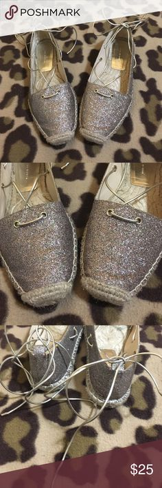 Zara espadrilles size 39 US 8.5-9 Glitter iridescent string wrap around ankle espadrilles worn once! Zara Shoes Flats & Loafers