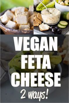 A Vegan Feta Cheese recipe that actually tastes like real feta cheese and crumbles like real feta cheese and is cheap and easy to make! Low Calorie Vegetarian Recipes, Vegan Recipes Videos, Tasty Videos, Vegan Meal Prep, No Dairy Recipes, Tofu Recipes, Delicious Vegan Recipes, Vegan Foods, Food Videos