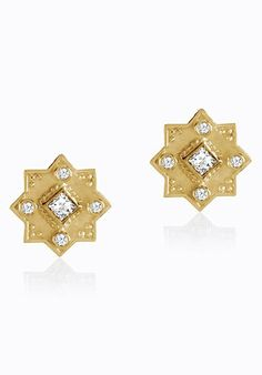 Holiday Gift Ideas from Legend Amrapali - 18k Yellow Gold and Diamond. Shop the Heritage Star of Lakshmi Stud Earrings