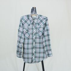 Vintage 70s Mens Small Plaid Pearl Snap Western Shirt