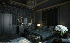 Black Bedroom Design, Luxury Bedroom Design, Bedroom Black, Black Bedding, Home Bedroom, Modern Bedroom, Bedroom Decor, Bedroom Ideas, Gothic Interior