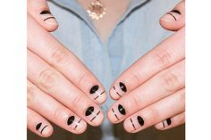Sometimes it's the simplest things that make the greatest impact. At least that's the case with this sophisticated negative-space nail art by manicurist Alicia Torello. A little bit edgy and a little bit glam, all this design requires is black nail polish and metallic striping tape—and these six easy steps.