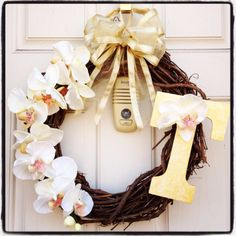 Door Wreath with with letter T