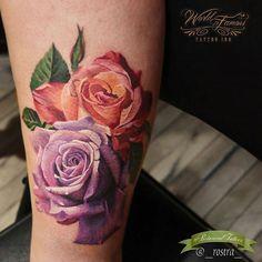 #botanicaltattoo #flowertattoo #floraltattoo #naturetattoo #rosetattoo #lavenderrose #peachrose @_rostra_ #antoninatroshina