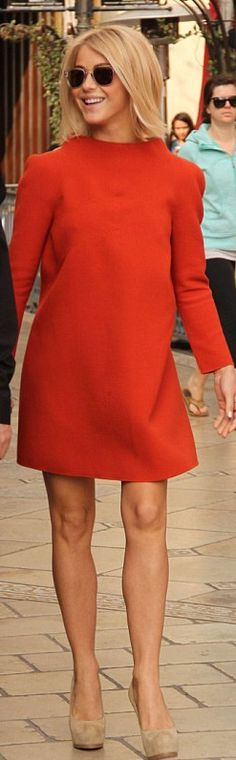 Who made  Julianne Houghs red long sleeve dress and nude suede pumps that she wore in Los Angeles?