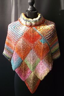 "Four squares make this cosy Topper using Noro's ""Obi"" yarn. It can be worn with the points at the front and back, or to the sides."