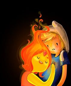 Finn and Flame princess Adventure Time Flame Princess And Finn, Adventure Time Flame Princess, Adventure Time Finn, Adventure Time Princesses, Finn The Human, Time Cartoon, Cartoon Shows, Marceline, Abenteuerzeit Mit Finn Und Jake