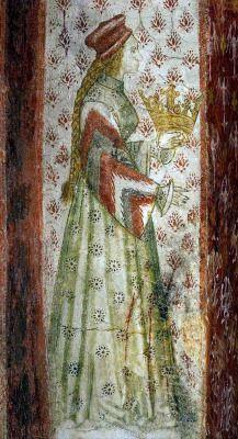 Margaret, Countess of Tyrol (1318-1369) fresco at Runkelstein Castle, c. 1390s