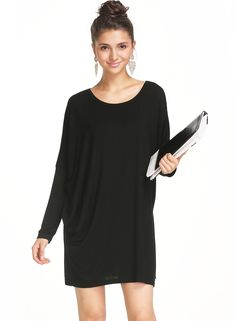 Shop Black Round Neck Long Sleeve Loose Dress online. Sheinside offers Black Round Neck Long Sleeve Loose Dress & more to fit your fashionable needs. Free Shipping Worldwide!