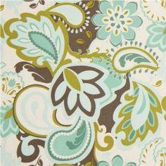 weißer Riley Blake Stoff mit türkisen Blumen und Paisley USA: Amazon.de: Küche & Haushalt