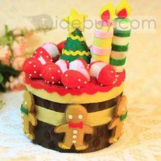 Auspicious Nonwoven Christmas Cake-Shaped Storage Boxes Artifacts